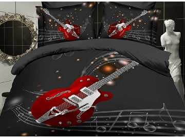 4-Piece Polyester Duvet Cover Sets Colorfast Wear-resistant Endurable Skin-friendly All-Season Ultra-soft Microfiber No-fading Fashion Guitar with Stave Print