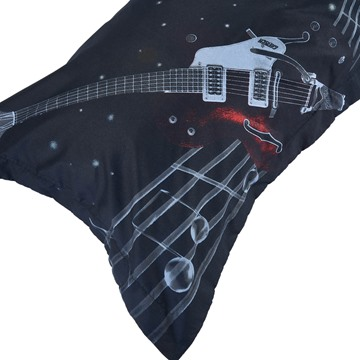 Fashion Guitar with Stave Print 4-Piece Polyester Duvet Cover Sets