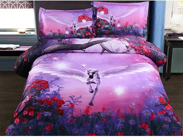 Flying Unicorn with Wings 4-Piece Polyester All Size Duvet Cover Sets