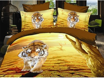 3D Imperial Tiger Print 4-Piece Polyester Duvet Cover Sets