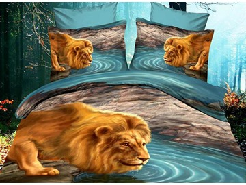 Vivid Lion Dabbling by the River Print 4 Piece Polyester Bedding Sets/Duvet Cover Sets