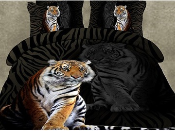 Skincare Tiger Print 4-Piece Polyester 3D Bedding Sets Colorfast All-Season Ultra-soft Microfiber