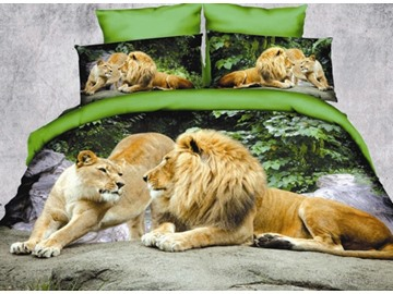 Crown Lion Couple 3D Printed 4-Piece Polyester Bedding Sets/Duvet Covers