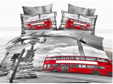 Red Bus Running on the Street Print Polyester 3D Bedding Sets