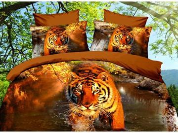 Vivid Tiger 3D Printed 4-Piece Polyester 3D Duvet Cover Sets
