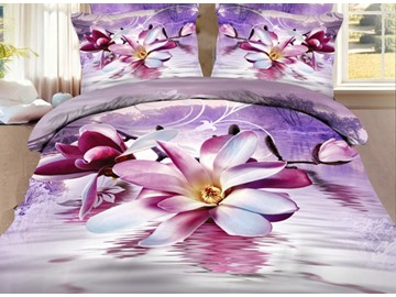 Elegant Purple Magnolia Print 4 Pieces Polyester 3D Bedding Sets