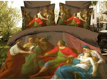 Vintage Lively Oil Painting 4 Piece Polyester 3D Bedding Sets