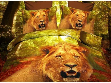 Ferocious Lion Head Print 4 Piece Polyester 3D Bedding Sets