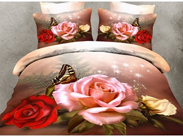 High Quality Elegant Roses and Butterfly Print 4 Pieces Polyester 3D Bedding Sets