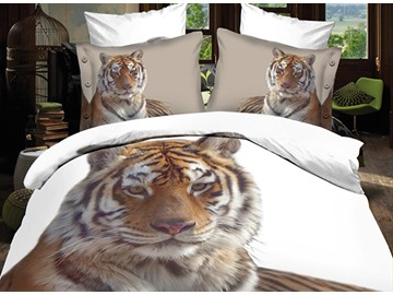 Full Size Popular Tiger Print 4-Piece Polyester 3D Duvet Cover Sets