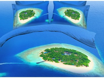 Green Island and Dark Blue Sea Colorfast Wear-resistant Print 4-Piece Polyester 3D Duvet Cover Sets