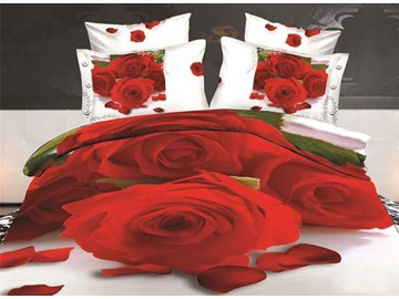 Bright Red Roses Print 4-Piece Polyester 3D Duvet Cover Sets