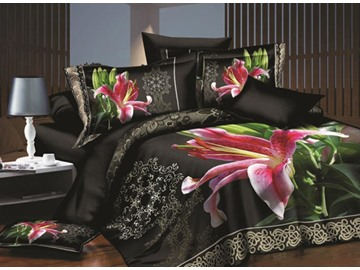 US Only Charming Pink Lily Print 4-Piece Polyester 3D Duvet Cover Sets Shipped From the US Only 9 Left In Stock Order Soon
