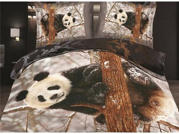 Very Cute Panda on Tree Print 4-Piece Polyester Duvet Cover Sets