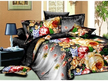 Vivid Colorful Flower Print 4-Piece Polyester Duvet Cover Sets