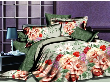 Charming Blooming Flower Print 4-Piece Polyester Duvet Cover Sets