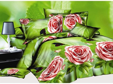 Black Butterfly and Red Rose Print 4-Piece Polyester Duvet Cover Sets