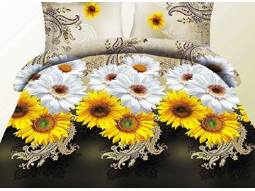 Bright Yellow and White Daisy Flower Print 4-Piece Polyester Duvet Cover Sets