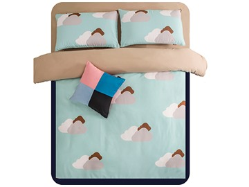 Beautiful Clouds Print 4-Piece Polyester Duvet Cover Sets