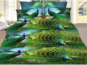Forest Green Peacock 4Pcs Full Size 3D Duvet Cover Set with Zipper Closure