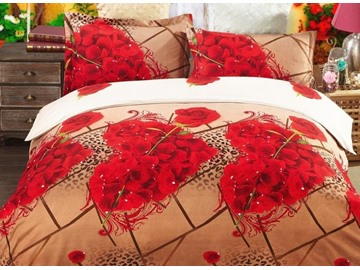 Heart Shaped Rose Print 4-Piece Polyester 3D Duvet Cover Sets