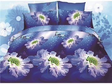 Wonderful Flower Print 4-Piece Polyester Duvet Cover Sets