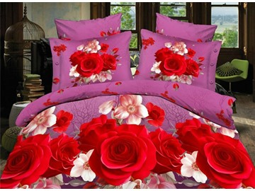 Vivid Red Rose Print 4-Piece Polyester Duvet Cover Sets