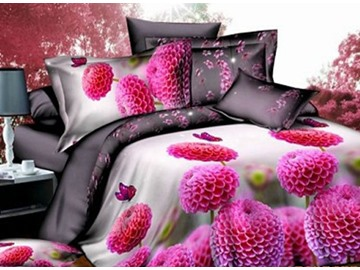 Hydrangea Flower Print 4-Piece Polyester Duvet Cover Sets
