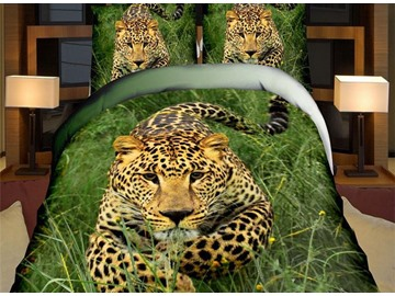 Smart Leopard Print 4-Piece Polyester Duvet Cover Sets