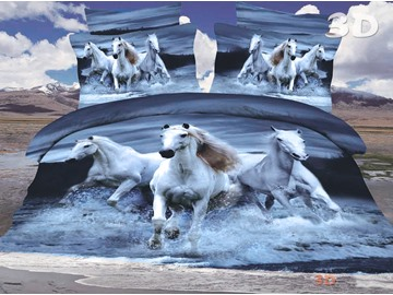 3D Running Horses Printed 4-Piece Polyester 3D Duvet Cover Sets