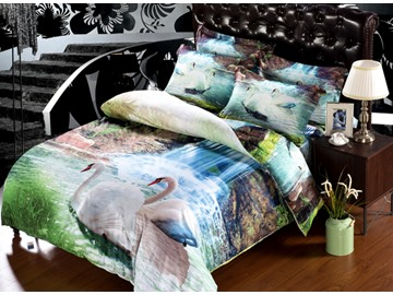White Swan and Waterfall Print 6-Piece Cotton Duvet Cover Sets