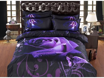 Charming Purple Rose with Dew Print 6-Piece Polyester Duvet Cover Sets