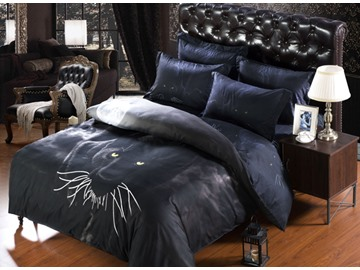 Panther and Moon Print 6-Piece Duvet Cover Sets
