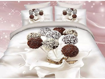 Chocolate Lollypops and Milk Print 4-Piece Duvet Cover Sets
