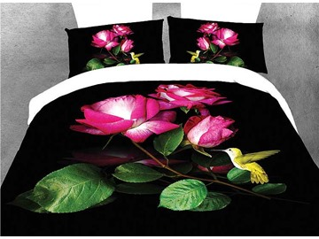 Amazing Rose and Hummingbird Print 4-Piece Duvet Cover Sets