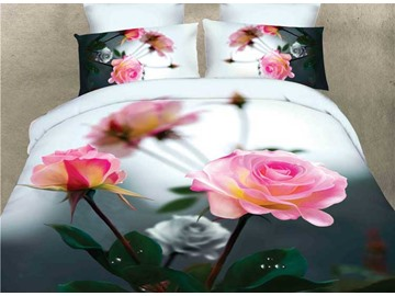 Pink Rose wiht Gray Background 4-Piece Duvet Cover Sets
