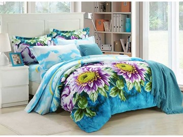 Refreshing Flowers Design Blue 4-Piece Duvet Cover Sets
