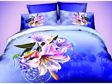 Well-made Vibrant Lily Design Dark Blue 4-Piece Polyester Duvet Cover Sets