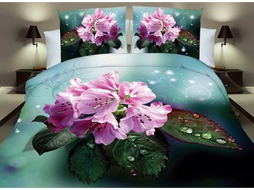 Shining Pink Flowers Print Dark Green 4-Piece Polyester Duvet Cover Sets