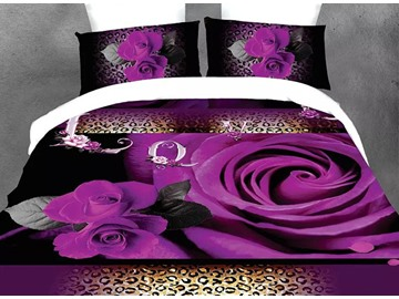 Blooming Purple Roses and Wild Leopard Design 4-Piece Polyester Duvet Cover Sets