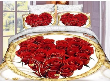 Sweet Red Roses Print Wedding 4-Piece Polyester Duvet Cover Sets