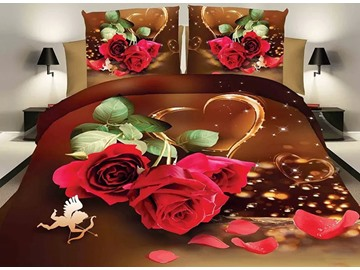 Romantic Red Rose Lovely Cupid Design Wedding 4-Piece Polyester Duvet Cover Sets