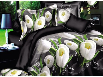 Graceful White Tulips with Black Background 4-Piece Polyester Duvet Cover Sets
