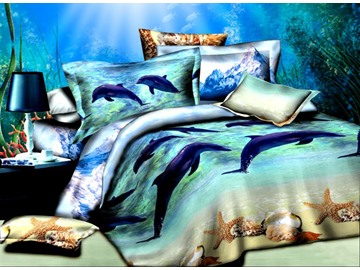 80 adorable dolphins starfish print cotton 4piece duvet cover sets