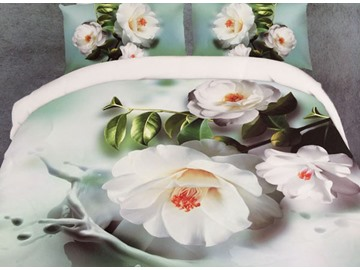 Pure White Flowers Print Polyester 4-Piece Duvet Cover Sets
