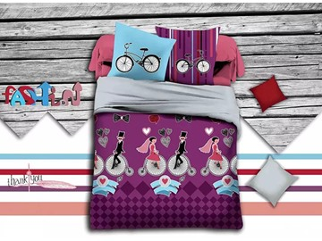 Romantic Lovers Print Purple Polyester 4-Piece Duvet Cover Sets