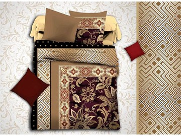European Jacquard Design Brown Polyester 4-Piece Duvet Cover Sets
