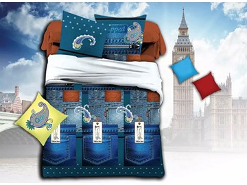 Creative Jeans Print Polyester 4-Piece Duvet Cover Sets