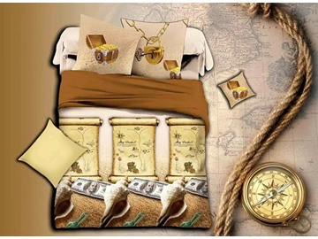 Creative Conch Print Brown 4-Piece Duvet Cover Sets