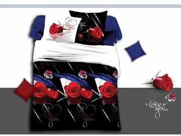 Romantic Roses and Heart Print Black 4-Piece Duvet Cover Sets